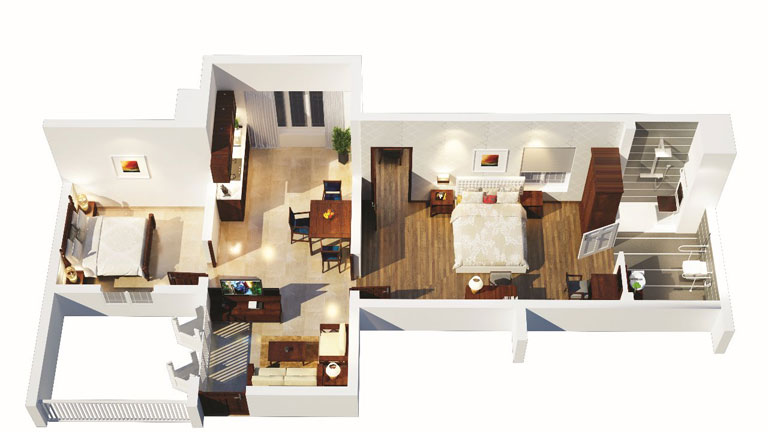 1 BHK Apartment with Study - Interior